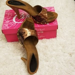 Candies Copper heeled sandals size 8-1/2